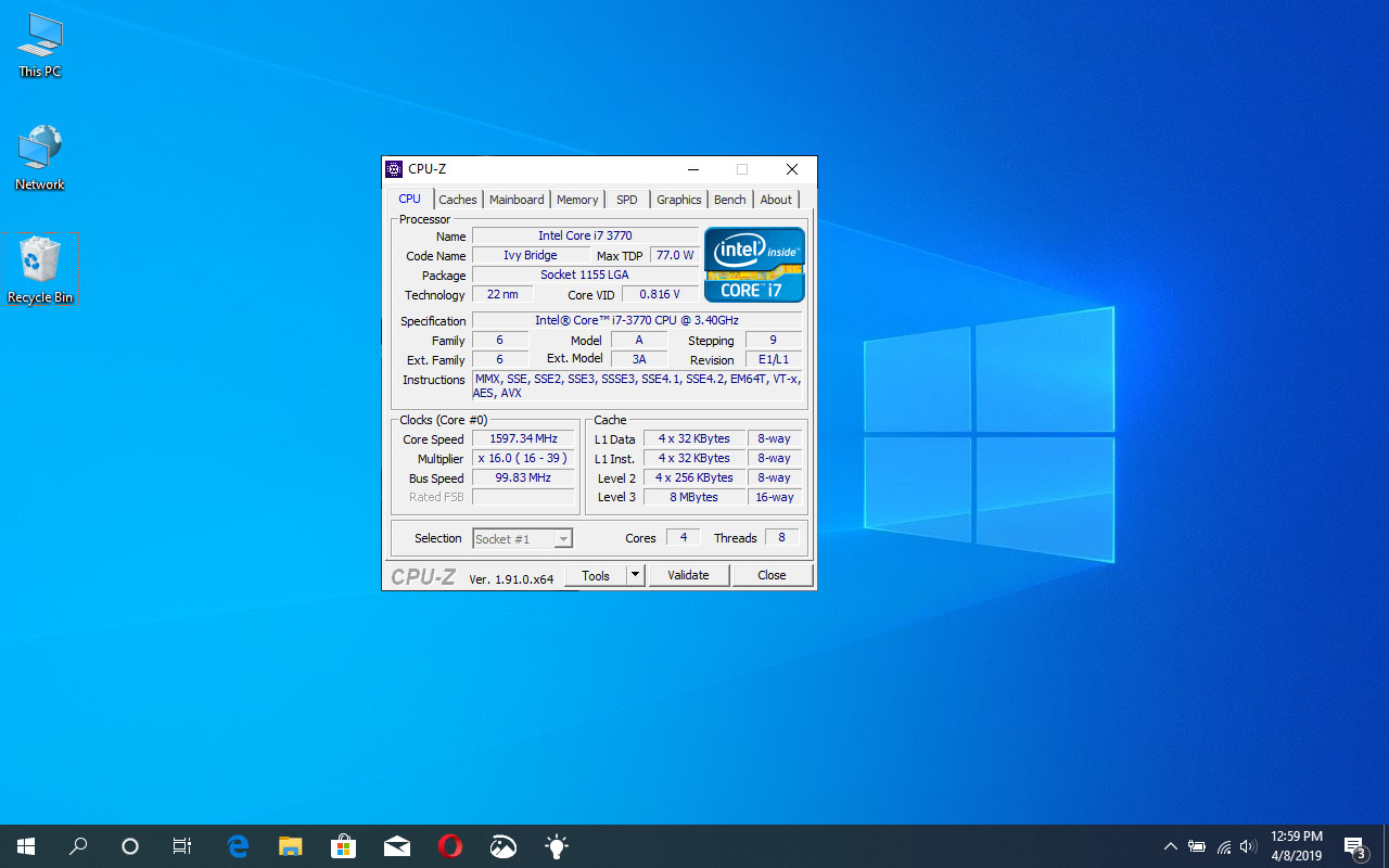 Windows 10 z CPU-Z
